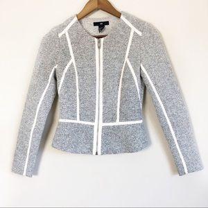 H&M Grey Zipfront Blazer Jacket Sz 2 31